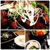 暫 - 料理写真:上:牛もつ、右下:サラダと漬物、左下:ごはん