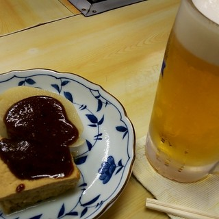 自由軒 - 料理写真:おでん(厚揚げ、大根)&生ビール