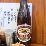 うなぎ 和友 - 2017.2 ビール大 ラガー(600円)と無料のお通し