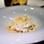 ete - 白子のヴァプール香ばしく焼き目を入れて 蟹とカリフラワーのソース 唐墨 白子と魚介のスープ添え