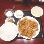 62784743 - 豚バラ肉の姜焼き定食(800円)【平成29年2月17日撮影】