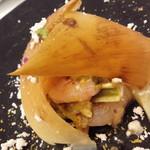 62791363 - 熊本県産はしりのタケノコと北海道産甘海老、色々な山菜のマリネ