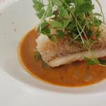 62791411 - 山口県萩産甘鯛鱗焼き 甘海老と香味野菜のビスクソース