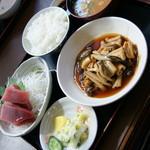 一力 - 日替わりランチ(850円)主菜は『煮穴子』ご飯は『茶碗』2017年2月