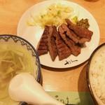 利久 - テールスープ&お新香付きの定食♡
