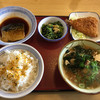 蒲郡拾石食堂 - 料理写真:本日のチョイス さば煮 アジフライ 小松菜煮 豚汁