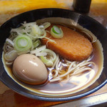 田舎 - コロッケそば(370円)+味玉子(50円)