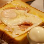 名曲・珈琲 麦 - ハムエッグトーストにゆで卵は30円でトッピング♪