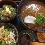ゆう - 料理写真:牛スジカレー蕎麦と漬け丼