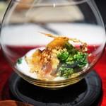 エクアトゥール - 金目鯛のミキュイ スモークした白子のソース 菜の花 自家製唐墨