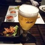 63133776 - ビール、【先付】小海老のレモンマリネ