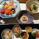 万葉 - 料理写真:先付から煮物までがテーブルにセットされます