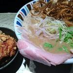 鶏Soba 座銀 - 煮干しnigori大950円 鶏込み飯小150円