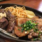 キッチンセブン街のハンバーグ屋さん - 限定メニュー カットステーキ&和風チキングリル定食(大盛)