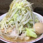 63238986 - 小ラーメン 麺半分 味玉 野菜マシマシ