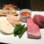 鉄板焼 心 - 但馬牛 フィレまたはサーロイン (100g) と焼野菜