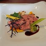 63274683 - 愛知県半田産 豚肩ロース肉の低温ロースト 柚子胡椒風味の赤ワインソース