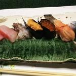 つばさ寿司本店 - 料理写真:1703 つばさ寿司本店 〆の鮨(大トロ、赤貝、いくら、うに、とり貝、かんぱち、さば)