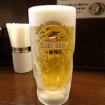 つけめん 豆天狗 - 生中(400円)