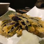 蕎麦酒肴 百景 - 高知産茄子天ぷら490円