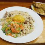 アジアカレーハウス - 金曜日のマトンビリヤニ、たまご、サラダ、チキンロースト