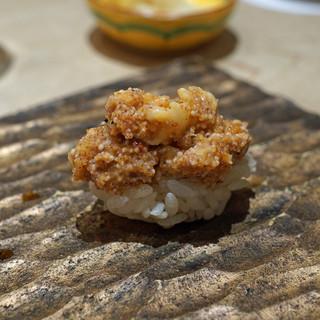 三谷 - 牡丹海老とその卵と海老味噌 十四代 槽垂れ 原酒 生酒 純米吟醸 を合わせて