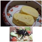 63410551 - ◆出汁巻玉子・・薄味ですが、鰻と共に頂くには丁度いいかも。 ◆野菜サラダは普通、キャベツ多め。