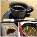 63410555 - ◆珈琲は薄めで、食後には飲みやすい。 ◆香の物。奈良漬が美味しい。 ◆お吸い物か赤出汁を選べますので「赤出汁」を