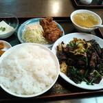 つる園 - ニラレバ定食+唐揚げ付 \1,000