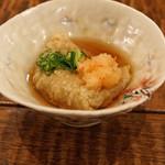 東白庵 かりべ - 料理写真:揚げそばがき 餡で、葱と紅葉おろしを上に添えて