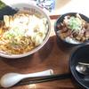 岡本屋 - 料理写真:肉ワンタン麺 + ネギチャーシュー丼