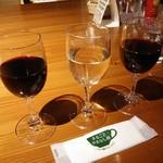 オープンカフェ - 甲州ワイン3種飲み比べ1000円