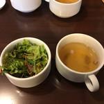 ハンバーグ・ステーキ宮崎亭 - スープとサラダ('17/03/05)