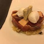 レストラン ラ フィネス - 生ハムで巻いた山鳩とフォアグラのアルザスの料理、プレツコフ