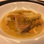 レストラン ラ フィネス - きんきと雲丹 白アスパラのエチュベ