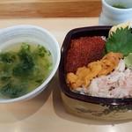 久慈浜 みなと寿し - 【2017/3】三色丼+のり汁
