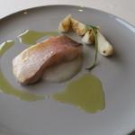 レストラン オオツ - 29年3月 京都丹後甘鯛麹漬け低温調理、蕪ピュレ、蕪焼き添え