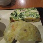 繭蔵 - 蓮根のはさみ揚げと野良坊菜のキッシュ