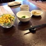 桜花亭 - コーンサラダ とろろ芋 ザーサイ コーヒー付