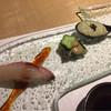 和キッチンしん介 - 料理写真:先附け(小林のチョウザメ握り、アオサとホッキ貝の煮こごり、トコブシのポタージュ)