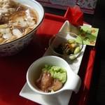 食彩遊膳 まる梅 - 小鉢とお雛様の折り紙