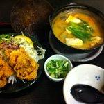 定食や - モツ煮と鶏から 単品 700円