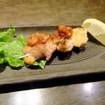 63718610 - 甲州産の赤鶏味噌鉄串焼