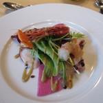 オリエンタルホテル - ぼたん海老 縞鯵 明石蛸のサラダ仕立て 橙ポン酢ヴィネグレット