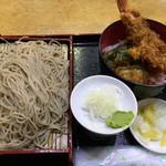 浜松町 更科 - Aセット(天丼、もりそば)