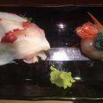 にぎにぎ一 - 蛸 (北海道産)、ボタン海老 (北海道産)
