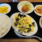 63773445 - エビとキクラゲの玉子炒め定食(750円)