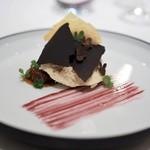 レストラン アルシミスト - フォアグラのムース ポルト酒のソース ほおずきのコンフィチュール オリーブ 青りんご