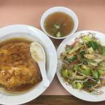 九州中華料理店 - 天津飯+野菜炒め