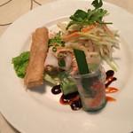 サイゴン・レストラン - 手前の左からアミアミ揚げ春巻、もっちり蒸春巻、生春巻。奥がパパイヤサラダ('17/03/12)